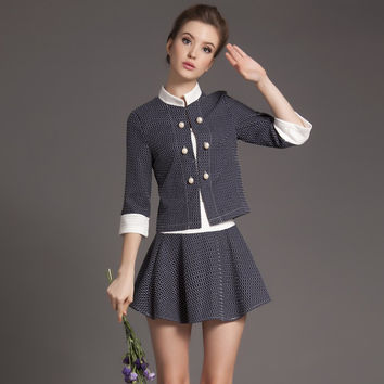 Laluna New 2015 Autumn Women's Suits With Skirts Double Breasted Plaid Female Skirt Suits Debutante Leisure Suit 2 Pieces Set