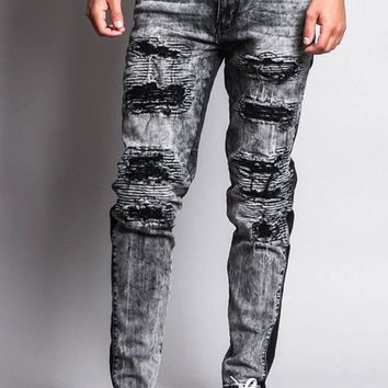 Destroyed Rip Illusion Moto Biker Jeans DL1153 - O1C