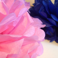 "10"" Pink Navy Blue12 Pom Poms Decorations Paper Decors Weddings Decoration Birthday Pompom Nursery Decor Pom Pom Wedding Paper Decor"