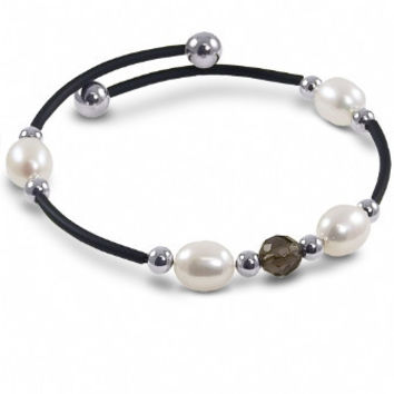 "Off the Cuff: 7.5"" Sterling silver freshwater cultured pearl and smokey Quartz black rubber bracelet."