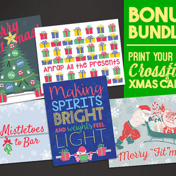 BUNDLE BONUS: Five Crossfit Inspired Christmas Cards - Print-At-Home - Fitness Weightlifting Holiday Greeting Card