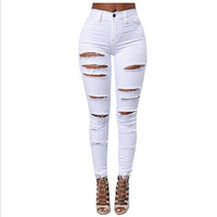High waist Slim large size women's jeans White