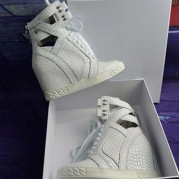 High Top White High Wedge  Platform Sneaker