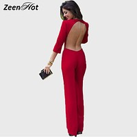 Summer Rompers Women Long Jumpsuit Sexy Backless New Romper ladies Elegant Jumpsuits Long sleeve Casual Bodysuit
