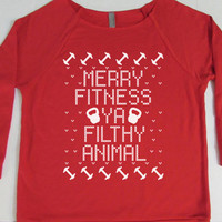 Merry Fitness Ya Filthy Animal. Funny Christmas Sweater. Ugly Christmas. 3/4 Sleeve Slouchy Sweater. Christmas Shirt. by WorkItWear