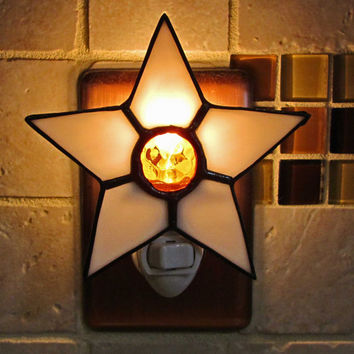 Stained Glass Night Light ~ Bright White Star