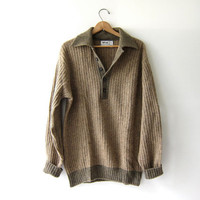 vintage shetland wool sweater. oversized brown sweater. henley pullover.