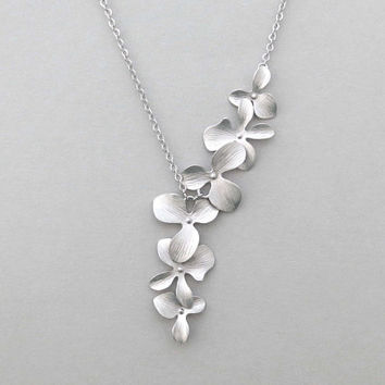 Cascade, Orchid, Flower, Waterfall, Gold, Silver, Rose gold, Necklace, Lovers, Friends, Mom, Sister, Gift
