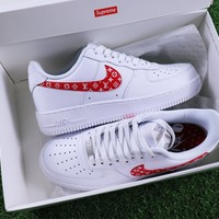 Supreme x LV x Nike Air Force 1 White Red Sport Shoes Sneaker