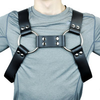 "1-3/4"" Wide Black Leather Fashion Bulldog Harness"