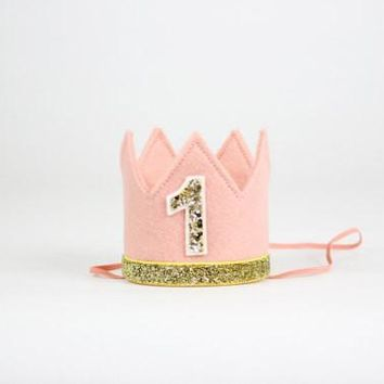 Pink and Gold Birthday Girl Crown/ 1st Birthday Crown