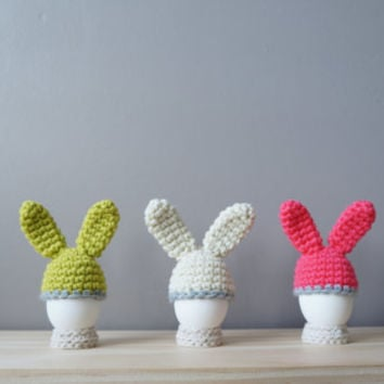 Easter Bunny Egg Cozy / Rabbit Ear Egg Warmer / Easter Table Décor / Neon Spring Decoration / Color Block Stripe / Bunny Hat / Egg Cup Cover