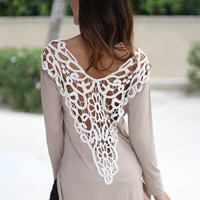 Crochet Back  Side Slit Bodysuit Long Sleeves Mini Dress
