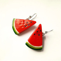 Watermelon Earrings Red handmade by abrakadabraua on Etsy