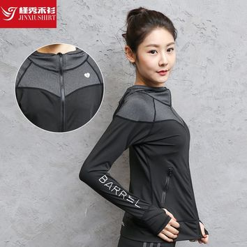 Women's Sports Quick-drying Yoga Jacket With Cap And Large Size Fitness Slim Grey Jacket Outdoor Running Coat  WT531