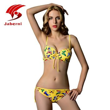 Summer Style 2016 New butterfly Push Up Bikini Sexy Bathing Suit Brazilian Swimsuit Animal Halter Bikini Hot Selling AL18006