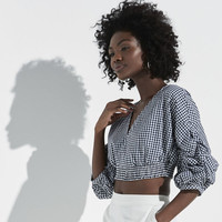 k/lab Gathered Sleeve Gingham Crop Top