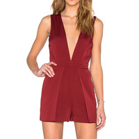 Lucy Paris Deep V Romper in Burgundy