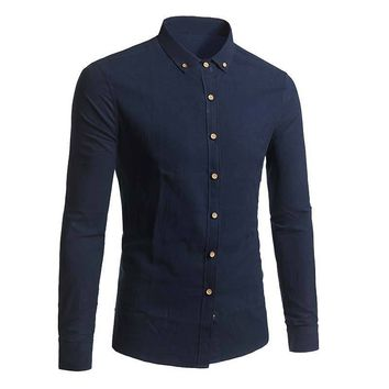 Autumn Spring Men Long Sleeve Shirt Solid Business Casual Linen Slim Fit Turn Down Collar Tops Plus Size 5XL -MX8