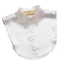 Women Shirt Blouse Detachable Fake Collar With Pearl And Rhinestone  Collar Fashion Women Clothes Accessories