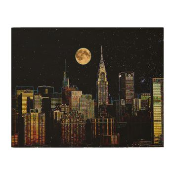 New York Skyline At Night With Full Moon Wood Wall Decor