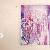 Boho Mandalas - Original Oil Painting with Round Floral Lace Stencil Prints - One Of A Kind Art, Home Decoration, Nursery Decor