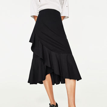 CONTRAST SKIRT WITH FRILLS