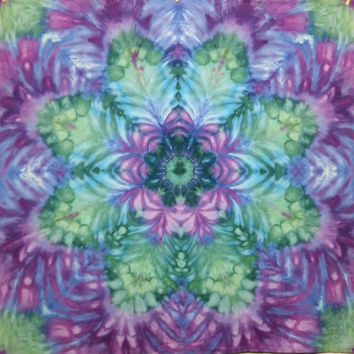 mandala tie dye tapestry wall hanging purple green teal