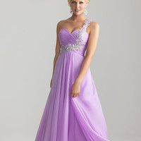 Lilac Chiffon Embellished One Shoulder Empire Waist Prom Dress - Unique Vintage - Cocktail, Pinup, Holiday & Prom Dresses.