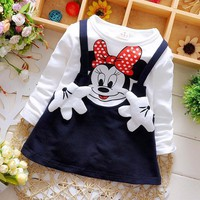 Baby Girls Dress Cute Minnie Long Sleeve Spring Sport Princess Style Party Clothing