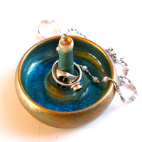 Green, Turquoise & Gold Ring Dish in Porcelain and Glass -- Handmade Jewelry Bowl