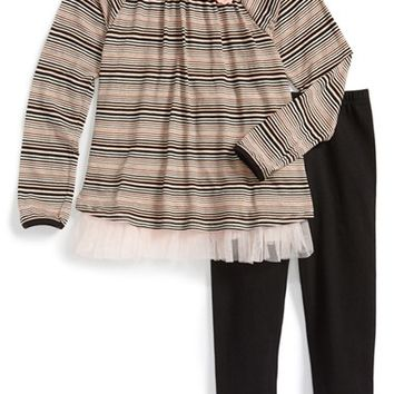Girl's Pippa & Julie Stripe Top & Leggings