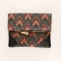 DAHLIA 18  / Cotton & Natural leather folded clutch - Ready to Ship