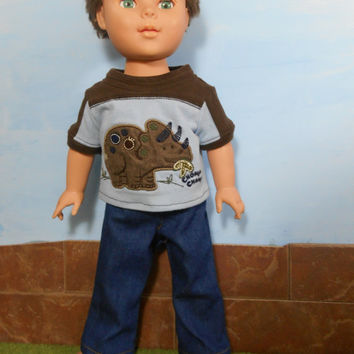 Dinosaur T-shirt and Blue Jeans for 18 Inch Boy Dolls, Blue and Bown Doll T shirt and Blue Jeans, 18 Inch Boy Doll Clothes