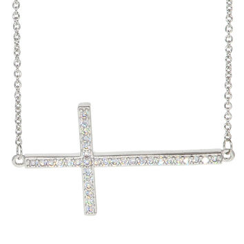 White Gold Plated Cubic Zirconia Sideways Cross Necklace Pendant Necklace