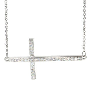 White Gold Plated Cubic Zirconia Sideways Cross Necklace Pendant d816234d0b69
