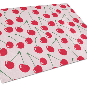 Cherries on Pink Glass Cutting Board Large BB5139LCB