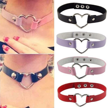Women Men Cool Punk Goth Rivet Heart-Shape Ring Leather Collar Choker Necklace = 1932130244