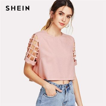 SHEIN Geo Cut Out Sleeve Crop Top Pink Round Neck Short Sleeve Women Pastel Plain Blouse 2018 Summer Button Casual Blouse