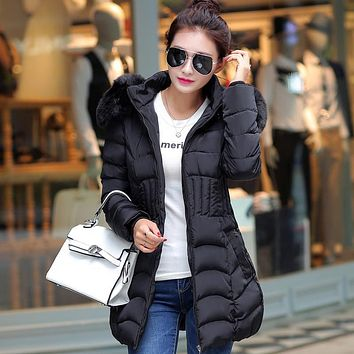 New 2016 Female Winter Coats Women Jackets Fur Collar Thick Ladies Down & Parkas hooded cotton woman outwear jacket