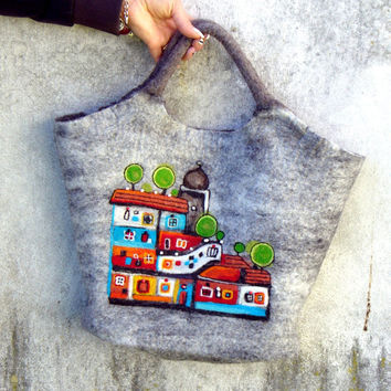 Felt Wool Tote Hundertwasserhaus  inspired,One of kind Felted handbag,  handmade, OOAK Ready to Ship