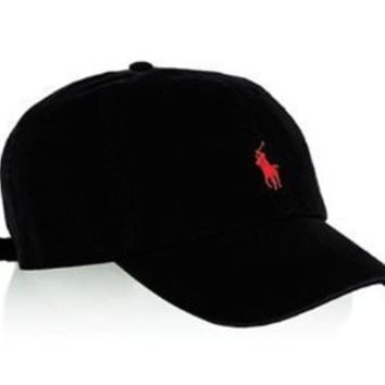 Polo Ralph Lauren Men's Pony Logo Hat Cap Black/Red