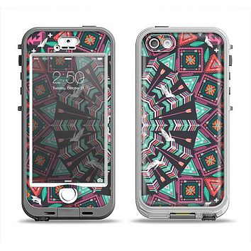 The Mirrored Coral and Colored Vector Aztec Pattern Apple iPhone 5-5s LifeProof Nuud Case Skin Set