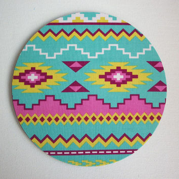 Mouse Pad mousepad / Mat - Rectangle or round - Aztec Tribal pink aqua Print coworker friend gift desk office accessory