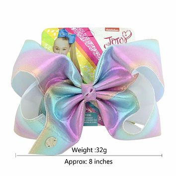 "1 piece 8"" JoJo Clip Glitter Rainbow Leather Mermaid Bow With Alligator Clips Kids Bling Hair Accessories Hairpins Barrettes"