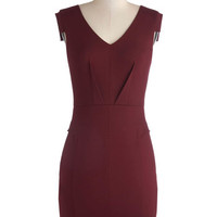 Change with the Clock Dress in Burgundy