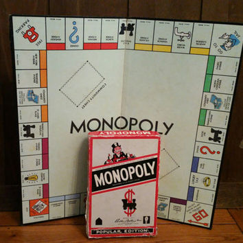 Vintage 1950s Parker Brothers Monopoly Game With Wooden Houses Deeds Community Chest Chance Cards