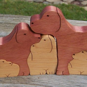 wooden animal puzzle 5 dogs scroll saw cut - Handmade Crafts by BasketsByDebi