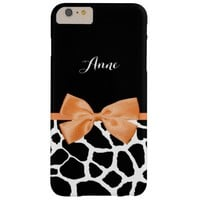 Pretty Orange Bow Stylish Giraffe Print With Name Barely There iPhone 6 Plus Case