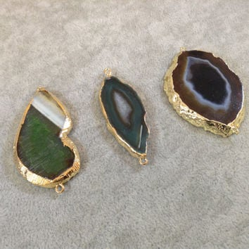Gold Plated Agate Slice Pendants - Choose your color!